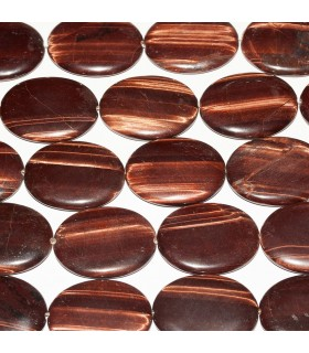 Tiger Eye Smooth Oval 40x30mm. Strand 40 cm.- Item: 4698