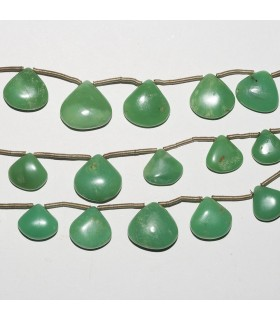 Chrysoprase Drop Degrade 14-7mm. Strand 16 cm.- Item: 3687