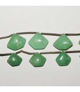Chrysoprase Pentagon Degrade 16-9mm. Strand 19 cm.- Item: 2487