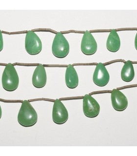 Chrysoprase Flat Drop Degrade 14-9mm. Strand 18 cm.- Item: 5298