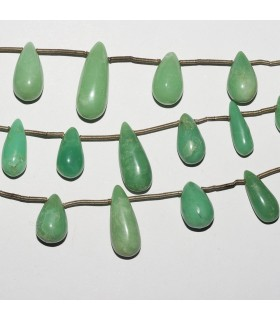 Chrysoprase Drop Degrade 21-9mm. Strand 18 cm.- Item: 2359