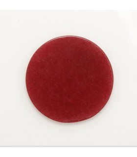 Red Jade Round Flat Pendant 25mm (4 Pcs ).-Item. 1199CB