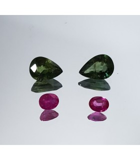 2 Matching Pairs In Green And Pink Sapphire Drop And Oval 7x5 Oval 4x3mm 2ct Ref.309PE