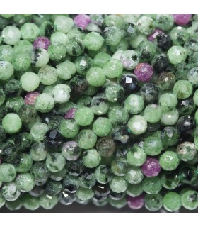 Ruby Zoisite Faceted Round Beads 2.5mm. Strand 33cm.- Item: 11052