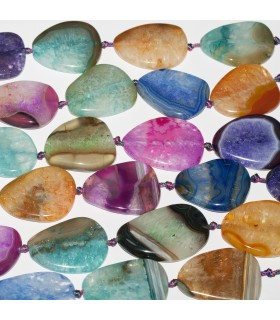 Multicolor Agate Flat Smooth Oval 40x28mm approx. Strand 42cm.- Item: 11355