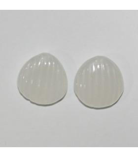 White Jade Carved Pendant 17mm.( 1 Pair )-Item.1129JV