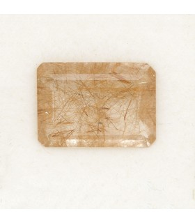 Rutilated Quartz Faceted Rectangular 14x10mm (5.29 ct.).- Item: 082PE