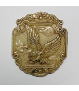 Brown Jade Carved Pendant 84x73mm.-Item.1145JM