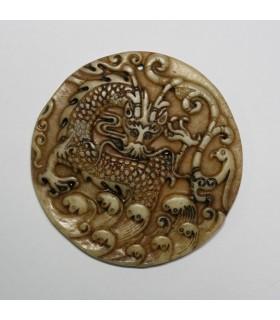 Brown Jade Carved Pendant 80mm.-Item.1148JM