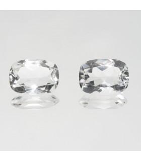 Pair Rock Crystal Quartz Faceted Rectangular 14x10mm (12.13 ct).- Item: 331PE
