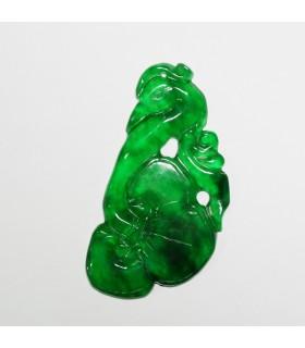 Natural Green Jade Carved Pendant 74x38mm.-Item.1173JV
