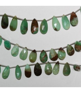 Chrysoprase Faceted Drop 14x8mm.Approx.-Strand 20cm.-Item.10961