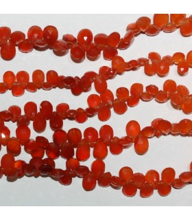 Carnelian Faceted Drop 8x5mm.-Strand 20mm.-Item.10964