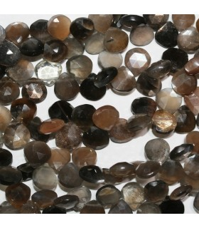 Multicolor Moonstone Faceted Drop 8-9mm.Approx.-Strand 20cm.-Item.10977