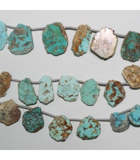 Natural Turquoise Irregular Smooth Oval Beads 16x12mm. Approx.-Strand 20cm.-Item.10987