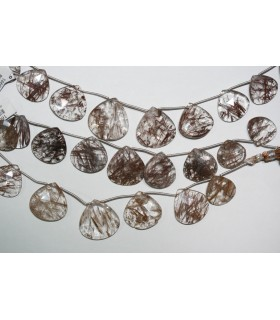 Rutilated Quartz Graduated Faceted Drop Beads 18-25mm.Approx.-Strand 20cm.-Item.10991