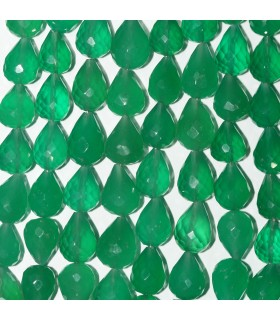 Green Onyx Faceted Drop Beads 11x8mm.Approx.-Strand 21cm.-Item.11002
